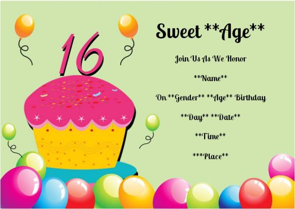 Surprise 16th birthday party invitation