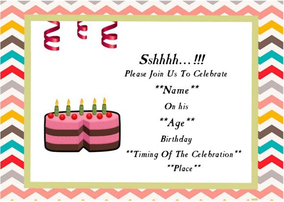 Surprise birthday party invitatio for him