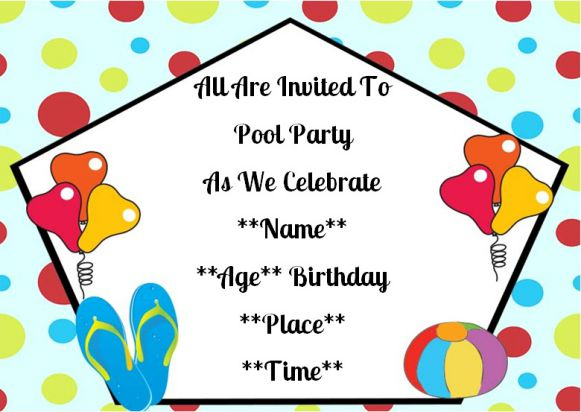 Surprise birthday pool party invitation