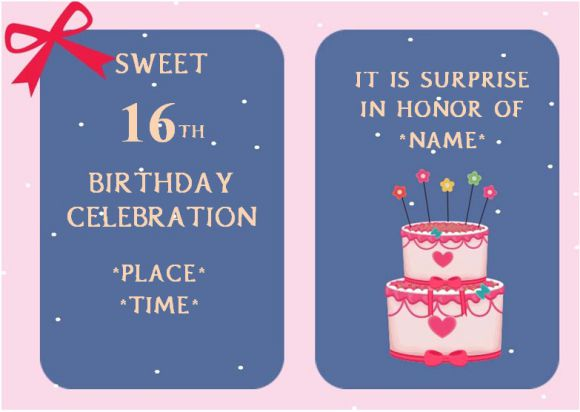 Sweet 16 surprise birthday party invitation