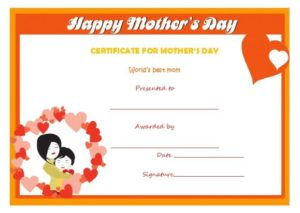 Mothers day certificate