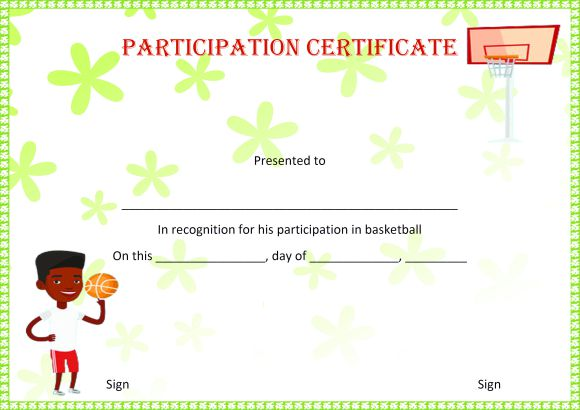 Basketball Camp Certificate For Participation