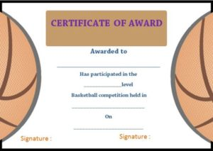 Basketball Camp Certificate Of Award