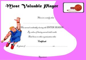 Basketball Camp Most Valuable Player