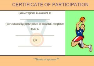 Basketball Camp Participation Certificate