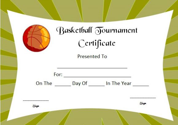 Basketball Camp Tournament Certificate