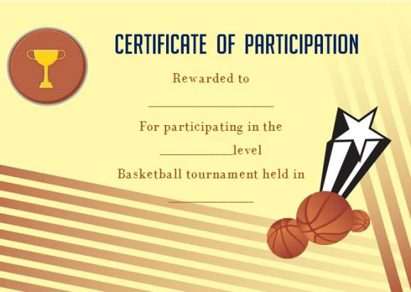 Certificate Of Participation Basketball Camp