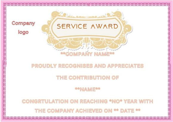 congratulations for years of service certificate