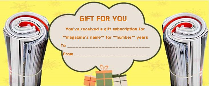 magazine gift certificate template for man