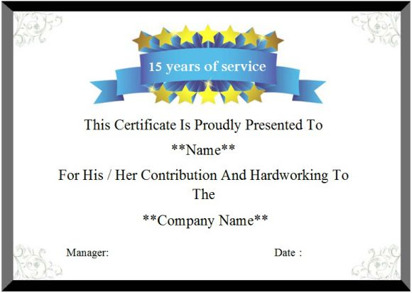 15 years of service certificate template
