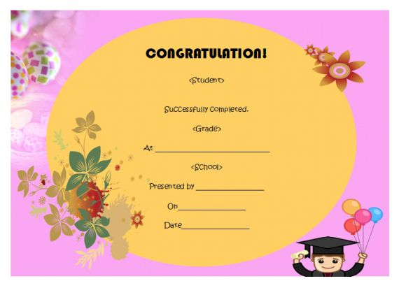 5th grade completion certificate