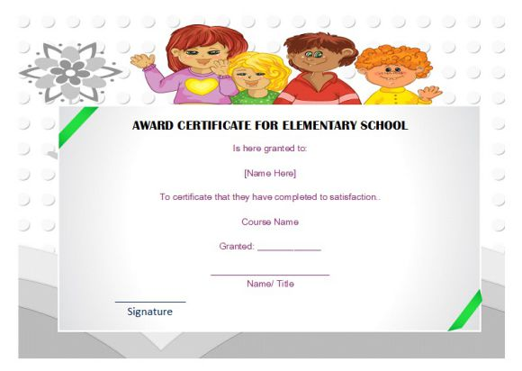 Award certificate for elementary school