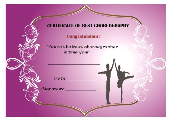 Best choreography certificate