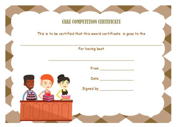 Cake competition certificates