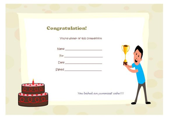 Cake competition winner certificate