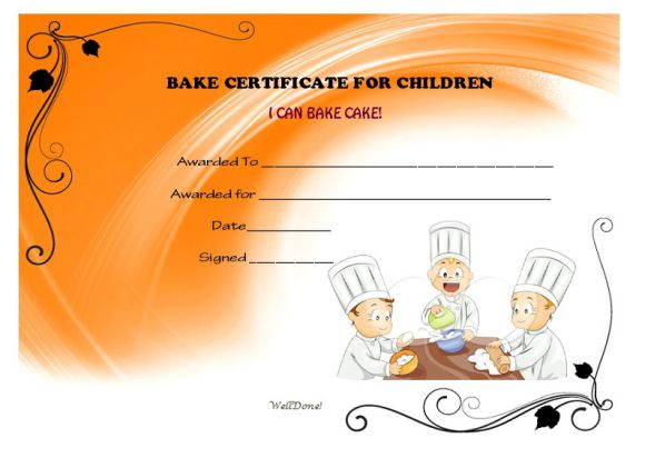 Childrens certificate I can bake