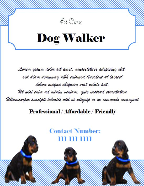 Dog walking flyer with white background