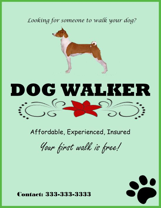 Experienced dog walker template