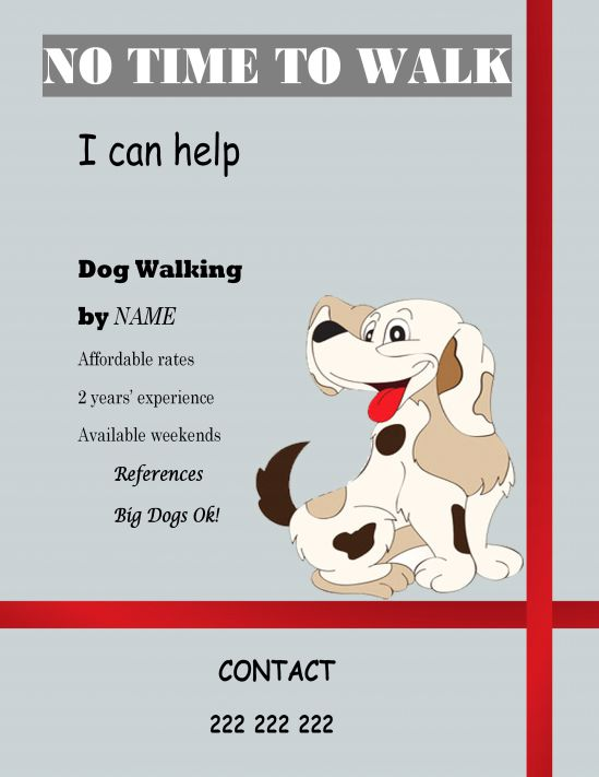 Free flyer dog walking