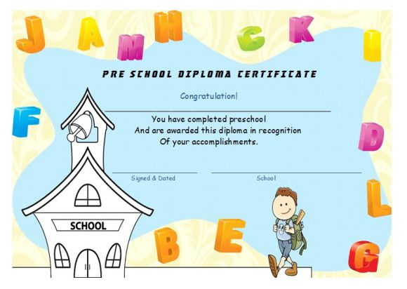 Pre school diploma certificate