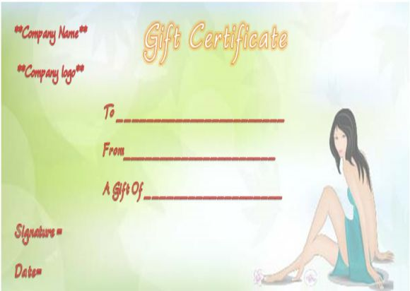 Spa Day Gift Certificate Templates