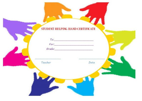 Student helping hand certificate