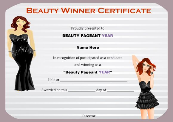 Beauty contest winner certificate template