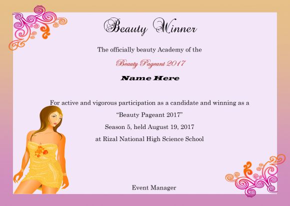Beauty pageant certificate template