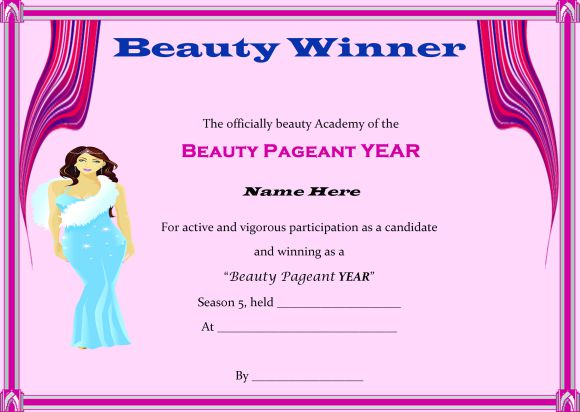 Beauty pageant winner certificate template