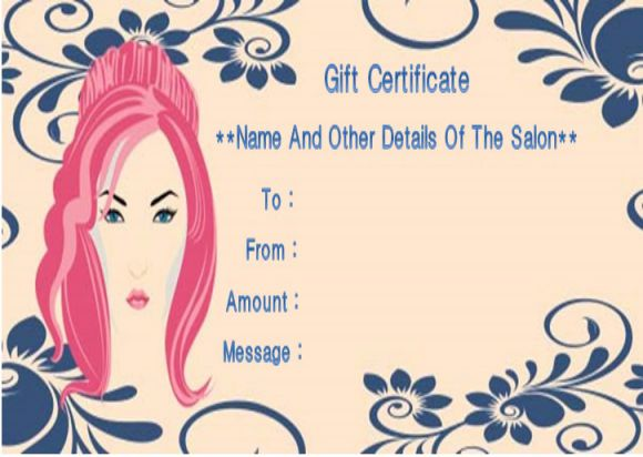 Beauty salon gift certificates template