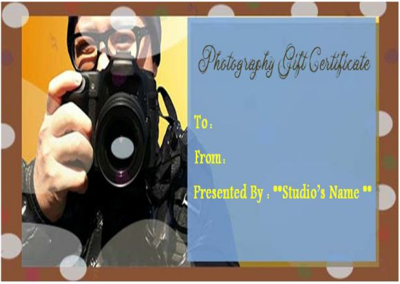 Blank photography gift certificate template