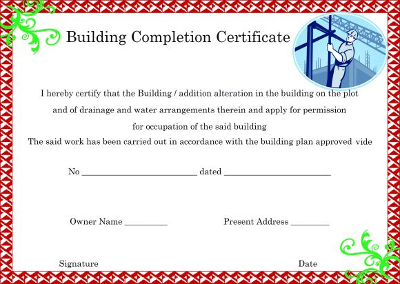 Building Completion Certificate Format By Architect
