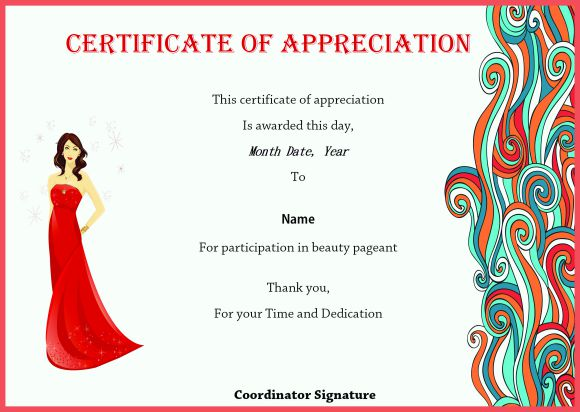 Certificate of appreciation for beauty pageant
