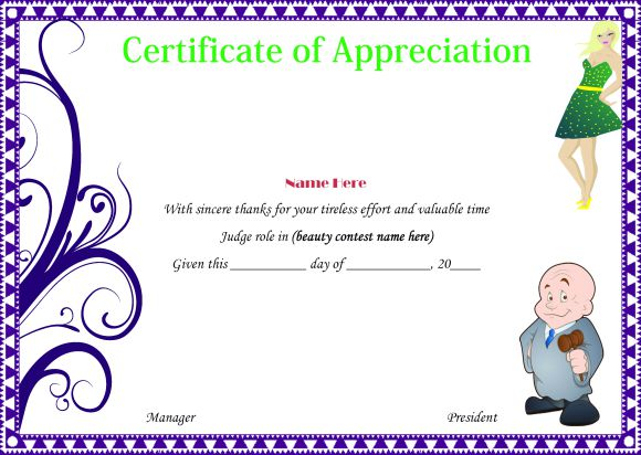 Certificate of appreciation for judge in a beauty pageant