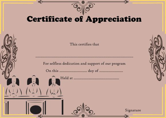 Certificate of appreciation for panelist