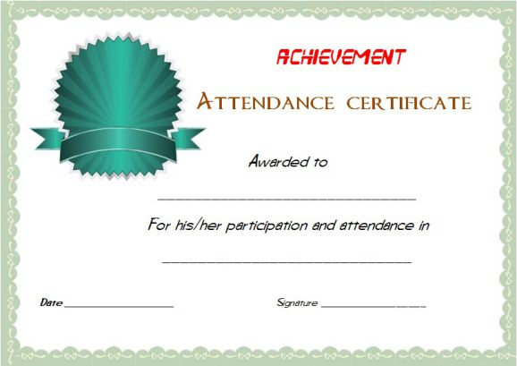 Certificate Of Attendance And Participation Template