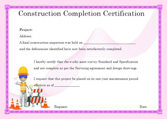 Certificate Of Completion For Construction Template