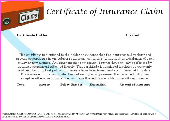 Certificate Of Completion For Insurance-Claim
