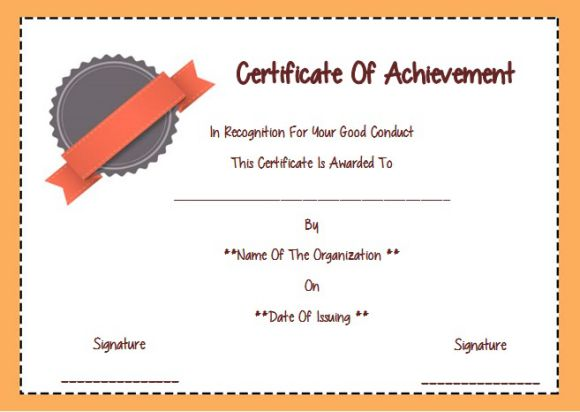 Certificate of good conduct template