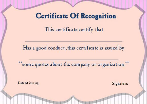 Certificate of good conduct templates