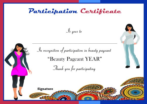 Certificate of participation in beauty pageant