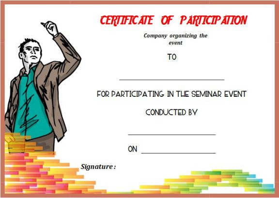 Certificate Of Participation Template For Seminar