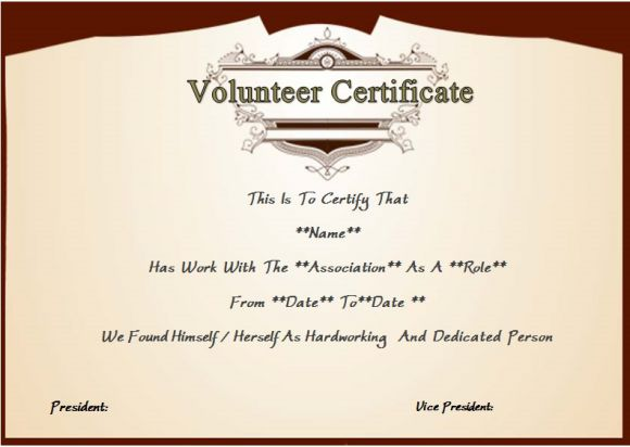certificate of volunteer service template