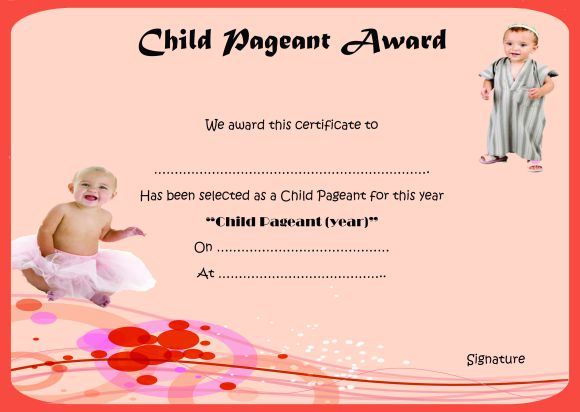 Child pageant award certificate