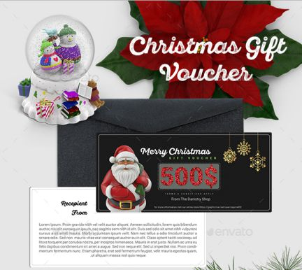 christmas gift certificate template - Graphic River 1