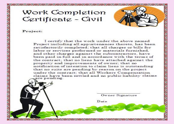 Civil Work Completion Certificate Format