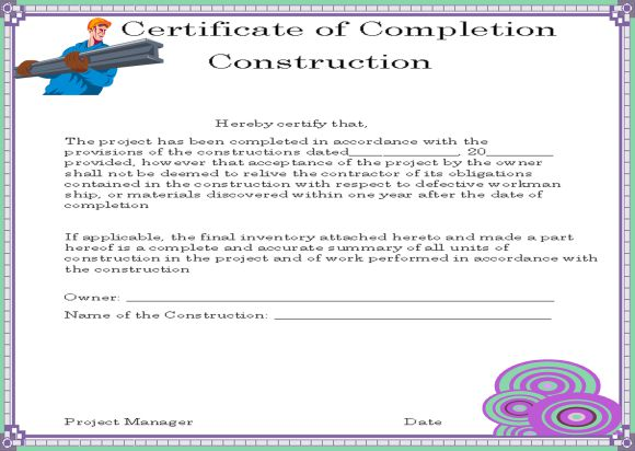 Construction Work Completion Certificate Format In Word