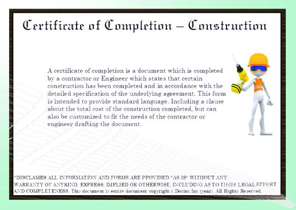 Construction Certificate Of Completion