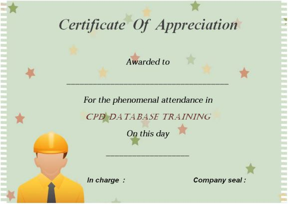 Cpd Certificate Of Attendance Template