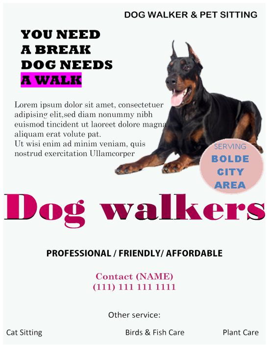 Dog walkers - need a break flyer